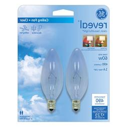 GE Lighting 48714 60-Watt Reveal Blunt Tip B10 2-Pack