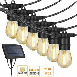 48FT Waterproof Solar Powered Outdoor String Lights Ambience
