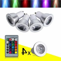 4pcs 16 Color 4W GU10 RGB Changing Dimmable LED Light Bulbs