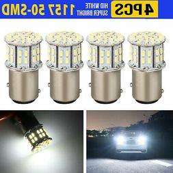 4pcs 6000K Super White 1157 BAY15D 50-SMD LED Tail Stop Brak
