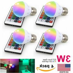 4Pcs E27 3W RGB LED Multi Color Changing Light Bulb with Wir