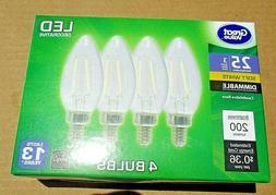 4pk Candalabra 25 Watt LED Light Bulbs Dimmable 3W 200 Lumen