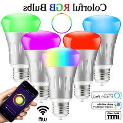 5 Pack E27 Wifi Smart RGB LED Light Bulb Dimmable Work Amazo