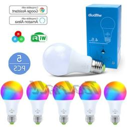 5 Pack WiFi Smart Light Bulb Bulbs Dimmable LED E27 Google H