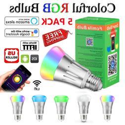 5 Pack WiFi Smart Light Bulb Bulbs Dimmable LED E27 W/ Googl
