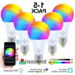 5 Pack WiFi Smart Light Bulbs Dimmable LED E27 W/ Google Hom