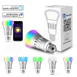 5X WiFi Smart Light Bulb Bulbs Dimmable LED E27 Lamp For Goo