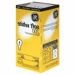 6- GE 200 Watt 11585-12 A21 200w Incandescent Soft White Lig