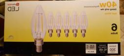 6 Utilitech 40-Watt Clear B10C LED Bulbs w/Candelabra Base -