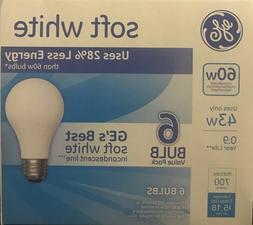 6 GE 43-Watt/60-Watt Output Soft White A19 Medium Base Light