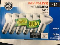 6 Sylvania 45w R20 45 Watt BR20 Flood Light Bulbs120v Incand