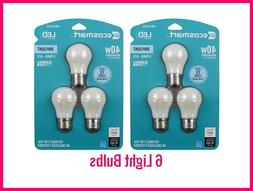 6 Pack EcoSmart 40 Watt Equiv A15 Dimmable Frosted Filament