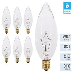 6 Pack 40CTC Chandelier 40W Bulbs 120V B10 Straight Torpedo