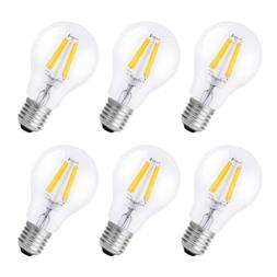 6-Pack 6W Dimmable Vintage Edison LED Light Bulb E26 Warm Wh