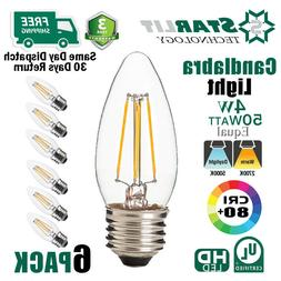 6 PACK B11 E26 Base 50W Equivalent LED Candelabra Bulbs 4W 2