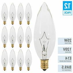 Clear Chandelier Bulbs 25W Watt European Base E14 Torpedo T