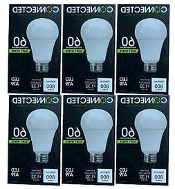TCP  Connected 60w Equiv Soft White LED A19 Light Bulbs 800