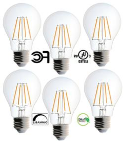 6 Pack Bioluz LED Dimmable Filament A19 4.5w Soft White 2700