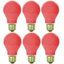 6 Pack Sunlite Incandescent 25 Watt A19 Red Ceramic Light Bu