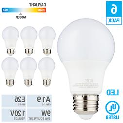 6 Pack LED A19 Bulb 9W 60W Equivalent Non Dimmable 5000K Day