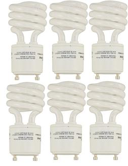 6 pack of 13 watt GU24 Twist and Lock Spiral CFL Light Bulbs