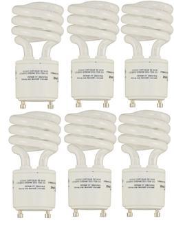 6 pack of 13 watt GU24 Twist and Lock Spiral CFL Light Bulbs