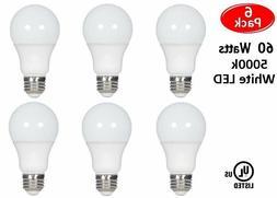 6 Pcs 60 Watt LED 5000K Daylight White Energy Saving 60W A19