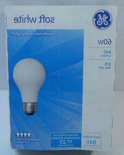 GE 60 WATT SOFT WHITE INCANDESCENT LIGHT BULBS - PACK OF FOU