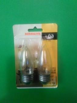 Sylvania 60W Double Life Flame Tip Light Bulbs B10 Clear Sta