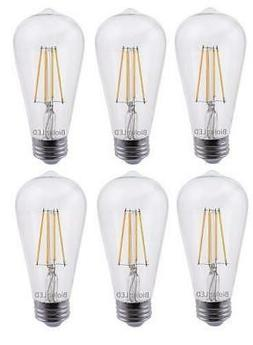 Bioluz LED 60W ST64 LED Bulb, Dimmable Vintage Edison Antiqu