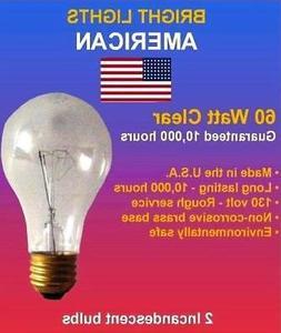 60watt Clear Rough Service, 10k hour, Incandescent Bulbs