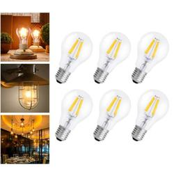 6Pack 6W Dimmable Vintage Edison E26 LED Light Bulb Warm Whi