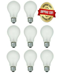 60 Watt Incandescent Light Bulbs A19 E26 Base - 8 Bulbs