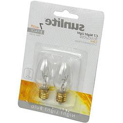 Sunlite 7C7/CL/CD2 Incandescent 7-Watt, Candelabra Based, C7