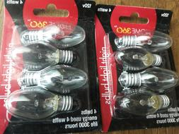 8 Bulbs // 'Home 360' CLEAR NIGHT LIGHT BULBS  // 2  x 4 Pac