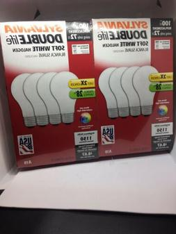 8 NEW SYLVANIA 100 Watt Light Bulbs double life soft white i