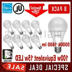 8 Pack 100W Replacement 15W LED Light Bulb Daylight 5000K A1