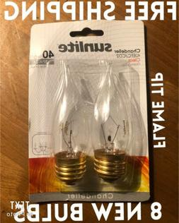 40 Watt Candelabra Base Flame Tip Chandelier Clear Bulbs 40