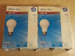 8 Pack GE 60 Watt Soft White Incandescent Light Bulb 2x Long