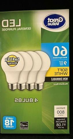 8 PACK LED 60W = 9W Soft White 60 Watt Equivalent A19 2700K