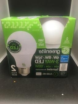 Greenlite A19  3 Way Light Bulbs 40/60/100 Watt LED 3500K. 2