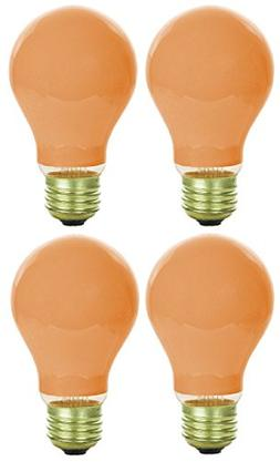Pack Of 4 40 Watt A19 Ceramic Orange Medium Base Standard Ho