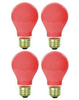 Pack Of 4 40 Watt A19 Ceramic Red Medium Base Standered Hous