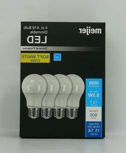 A19 Dimmable LED Light Bulbs Meijer 9.5W/60W 800 Lumens 2700