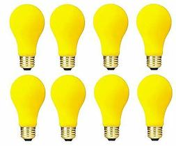 Pack of 8 60-Watt A19 Yellow Bug Incandescent Medium Base Li