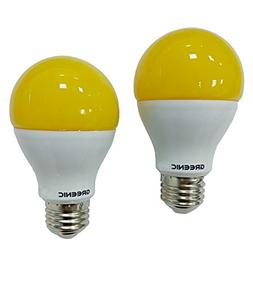 Greenic 60Watt Amber Yellow LED Bug Light Bulb 2-Pack No Blu