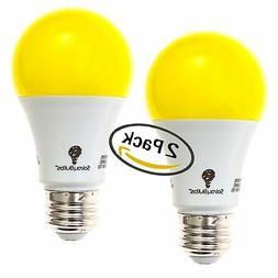 Solray Amber Yellow LED Bug Light Bulb 2-Pack No Blue Light