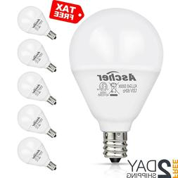 Ascher E12 LED Candelabra Light Bulbs 60 Watt Equivalent, Ba