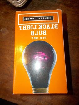 BLACK LIGHT BULB 75 WATT HOLIDAY HOME NEW IN BOX