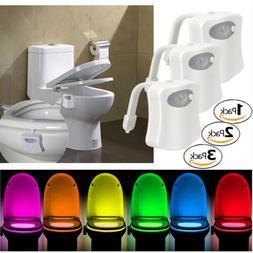 Toilet Night Lights Bowl Bathroom LED 8 Color Sensor Lamp Mo